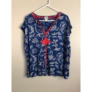 irving & fine for lucky brand boho embroidered top